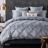 SunnyRain 6-Pieces Grey Pinch Pleat Luxury Bedding Set King Queen Bed Set Solid Color Duvet Cover Bed Sheet Linen