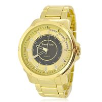 Men's Gold Plated Black & Gold Dial Decorated Watch £7.88