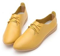 Genuine Leather Oxford Shoes For Women Round Toe Lace-Up Casual Flat Loafers $29.87