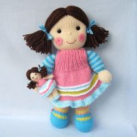 Maisie and her little doll - knitted toy dolly - INSTANT DOWNLOAD - PDF email knitting pattern - ePattern on Etsy, $4.95
