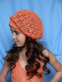 Peach Child Beret free crochet graph pattern and pictorial