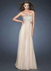 Strapless Sequin Ruched Long Nude Prom Dress Cheap 2014