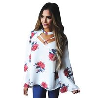 Sexy Halter Blouse Floral Printed Long Sleeve Shirt Loose Casual White Blouse $15.32