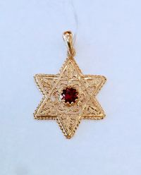 Star of David, Gold filigree pendant, center Ruby, jewish jewelry, 