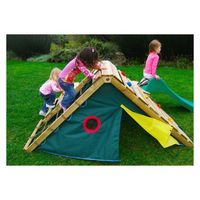 Hmm a little version for outdoors or take the indoor one and make one side a climbing wall and one side a net.