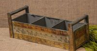 New Country Primitive Antique Ruler Yardstick Tool Box Wood Caddy Basket