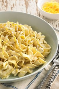 This astonishingly delicious pasta dish is surprisingly easy to make Just combine the zest of two lemons, heavy cream, salt and pepper in a saucepan, and let it