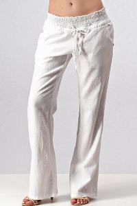 Smocked Waist Linen Pants - Off White, $37.00, https://kollekcio.com
