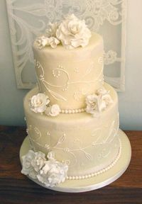 Image detail for -... Roses, fondant Pearls and Royal Icing on Ivory Fondant Wedding Cake