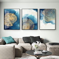 Framed set of three wall Modern Abstract Gold blue ocean painting acrylic paintings on canvas original art large wall art cuadros abstractos $163.53