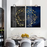Set of 2 wall art blue gold acrylic painting fish ocean Sea Ymipainting 2 piece wall art navy abstract paintings on canvas original art $176.50