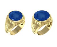 14K Solid Gold Men's Ring Blue Agate Carving of Soldier Statement Ring Mens ring, Roman ring, Greek ring, Mythological ring, Cameo ring $2320.00