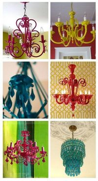 Give an old chandelier a face lift with spray paint for a modern look!