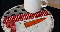 """Snowman Mug Mat: Let this snowman join you for your morning coffee! Mug Mat finishes to 8"""" diameter. Make one for you and extras for all your friends! http://www.shabbyfabrics.com/Snowman-Mug-Mat-P19007.aspx?categoryid=947 Pattern: $3.00"""