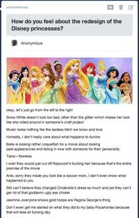New Disney princesses -- SPOT.ON. I don't understand why they gave Cinderella side swept bangs!! They were fine how they were! AnD the GLITTER is ToOoO much and sorry Belle looks like a hoe