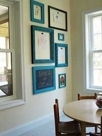 Empty frames with clips to display the kids' newest art projects.