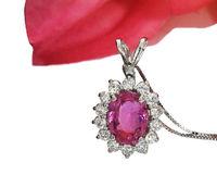Pendant Sapphire Necklace cluster Pendant Pink Sapphire 14K White gold Minimalist pendant $2200.00