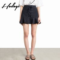 School Style Vogue Sweet Crossed Straps Lace Up Summer Frilled Stripped Skirt - Bonny YZOZO Boutique Store