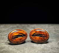 Precious thuya burl Cufflinks - Hand made carved and engraved wood cuff links $49.00