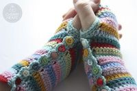 Crochet a pair of colorful stripy fingerless gloves... �™� By Cherry Heart