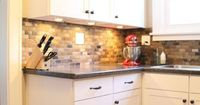 Small Kitchen Remodel with Slate Tile Backsplash | featured at Remodelaholic.com #smallkitchen #remodel #backsplash