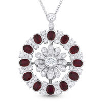 3.80ct Oval Cut Ruby & Round Cut Diamond Pave Statement Pendant in 18k White Gold w/ 14k Chain Necklace