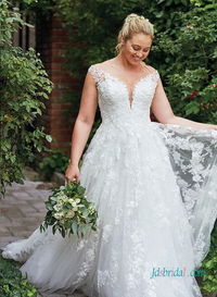 H0448 Plus size lace a-line princess wedding dress