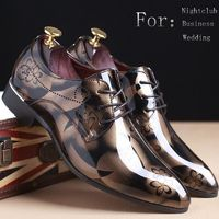 Plus Size 38-48 Fashion Men's Leather Pointed Toe Business Shoes Leather Wedding Shoes Bright Lace Up Casual Shoes $40.00