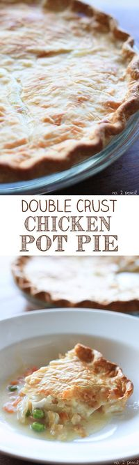 This recipe makes two Double Crust Chicken Pot Pies, one to bake now and one to freeze for later. Chicken pot pies are one of my favorite meals, and I've made t