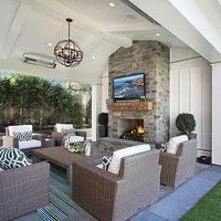 Covered Patio Vaulted Ceiling with Fireplace TV