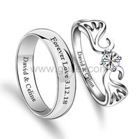 Personalized Angel Wings Men and Women Promise Rings Set https://www.gullei.com/engravable-angel-wings-mens-women-promise-rings-set.html