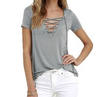Lace Up T Shirt Women Sexy V Neck Hollow Out Top Casual Basic Female T-shirt Plus Size Tee Shirt Summer Women Top 8 Colors X0130 $32.51