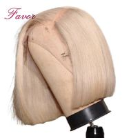 150% Density Lace Front Human Hair Wigs 613 Blonde Short Bob Straight Lace Wigs Brazilian Remy Human Hair Pre plucked Hairline $196.35