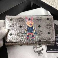 MCM Rabbit Visetos Trifold Leather Short Wallet In Silver