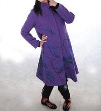 Autumn fashion Cotton tunic Purple long coat