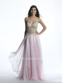 Pink floor length prom dress 2015 by Dave and Johnny 1046