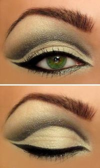 dramatic makeup for green eyes! <3 the eyeliner