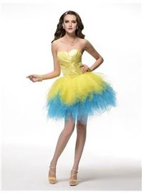 Beautiful Sweet Strapless Tiered A-Line Ruched Lace-up Short-Length Cocktail/Homecoming Dress