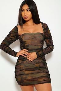 Mesh Ruched Bodycon Tube Dress $21.51