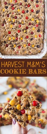 Bake these Harvest M&M'S Cookie Bars up for Halloween, Thanksgiving or football parties! They are perfect for feeding a crowd and so much easier than traditiona