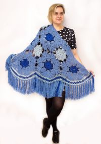 Large blue womens shawl with fringe, as soft Christmas gift shrug for wife, oversized lace clothes for plus size women. Merino wool cape $79.00