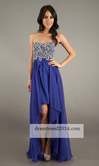 Royal Beaded Top High Low Layered Prom Dress