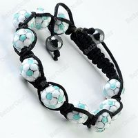 Enamel Football Disco Hip Hop Bracelet Bangle Adjustable Woven Punk