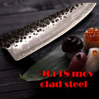 Hand Forged Chef Knife 3-layer Clad Steel Butcher Tools Kitchen Knives wood handle ILS190.00