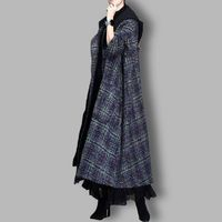 Winter Blue Plaid Wool Coat, Maxi Hooded Wool Coat Cloak, Women Coat, Plus Size Clothing, Long Coat, Winter Clothing