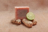 2 Bars Of Ginger Lime Soap Bars Plus Cedar Soap Saver With Gift Bag FREE SHIPPING $9.95