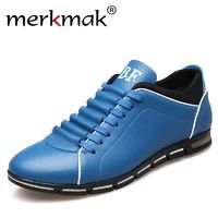Merkmak Big Size 38-48 Men Casual Shoes Fashion Leather Shoes Flat Shoes R312.45