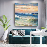 Modern abstract Original sea waves acrylic Paintings on canvas texture Blue large wall art painting home decor cuadros abstractos $140.00