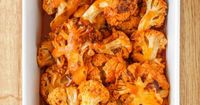 Buffalo Cauliflower �€œWings�€. I just cut it post baking in the oven then you don't have to dirty another dish to pan fry it. After coating it with the hot sauce I place it back in the oven for 5 minutes. Done!