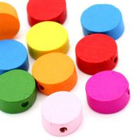 50 x Assorted Colours of Flat, Round, Wooden Rondelle Spacer Beads. 12mm x 5mm with 1mm Hole. Jewellery Making & Children Art Crafts £3.19